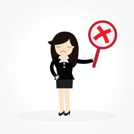 Business woman with wrong symbols. Illustration