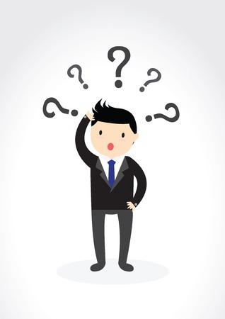 ビジネスマンはクエスチョン マークで頭をかきます。  イラスト・ベクター素材