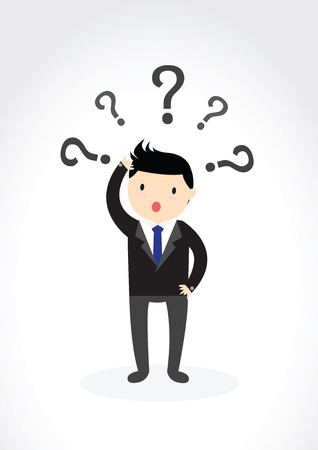 Businessman scratching his head with question marks.