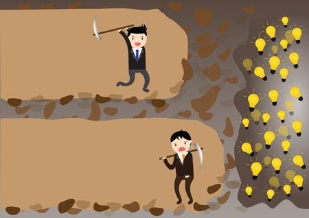 Zakenman geven voordat bereik idee, maar een zakenman die nooit opgeven voordat bereik idee. Stock Illustratie