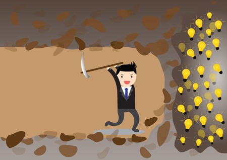 Businessman digging to find idea.  イラスト・ベクター素材