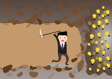digging: Businessman digging to find idea. Illustration