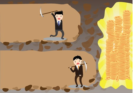 Businessman give up before reach money but one businessman which never give up before reach money