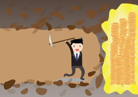 digging: Businessman digging to find money.