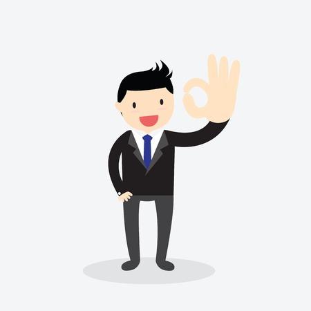 Businessman showing okay hand gesture. Ok hand sign. Illustration
