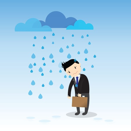 Businessman fail he standing in the rain