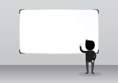 Businessman with pen in left hand on white board