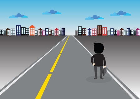 far away: Businessman walking on a road to success and bright future Illustration