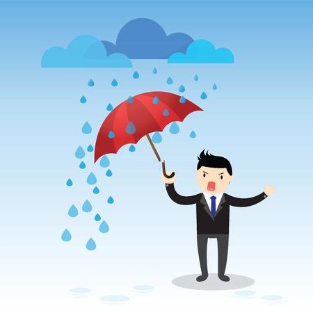 lluvia paraguas: Paraguas roto. Hombre de negocios bajo un paraguas roto bajo la lluvia