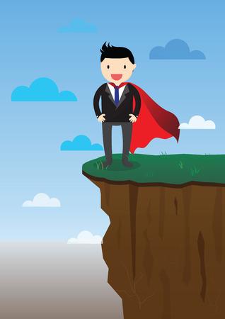 precipice: Super businessman standing on the edge of a precipice.