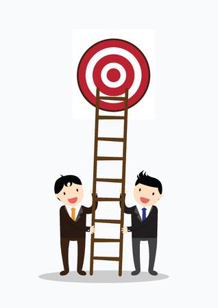 Teamwork for target. Businessman climbs a ladder in target.
