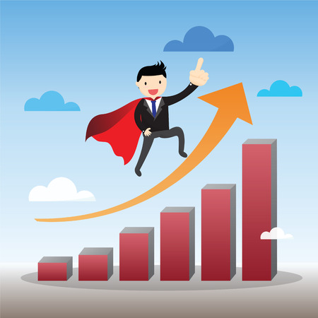 businessman standing: Super businessman standing on graph.