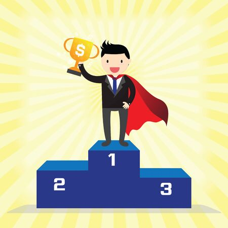 podium: Super businessman winner standing in first place on a podium holding up trophy.