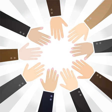 multiracial: Business Team Work. Multiracial business people joining hands.