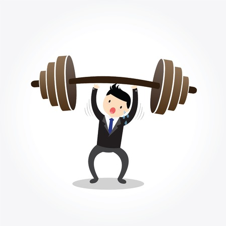 owe: Businessman lifting a heavy weight,  to be able to achievement successful or reaching goal.