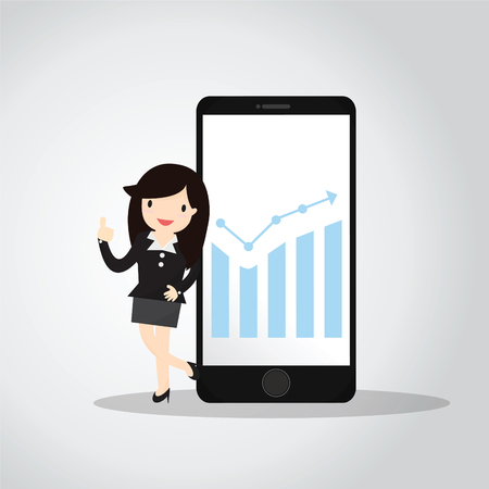 woman cellphone: Business woman presenting information on smartphone Illustration