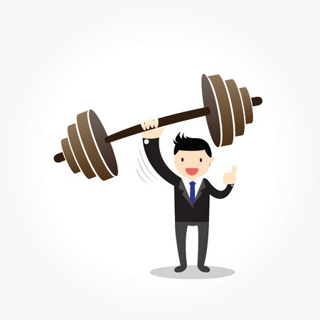 able: Businessman can lift weights with one hand, to be able to achievement successful or reaching goal.