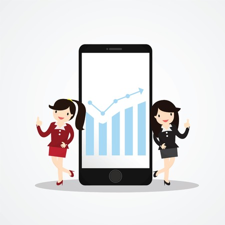 hp: Business woman presenting information on smartphone Illustration
