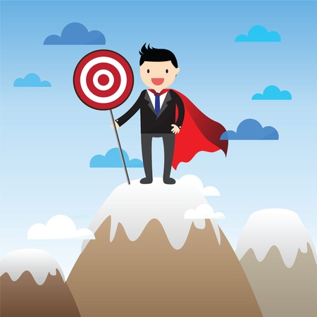 precipice: Successful super businessman on the top of a mountain