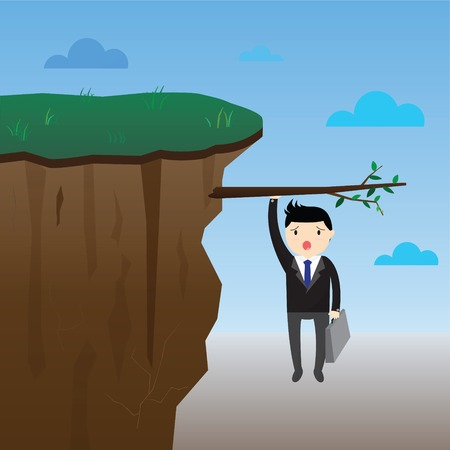 fiscal cliff: Businessman hanging on tree branch over cliff, hang on profit.