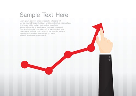 Businessman pointing at growth graph and business concept Ilustração