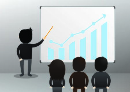 conglomerate: Businessman giving a presentation to other business people.