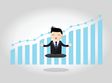 meditative: Meditative businessman is looking for the perfect business solution on rowing arrow as a concept of the success.