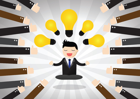 Businessman great idea and being crowd funded . Meditative businessman is looking for the perfect business solution. Çizim