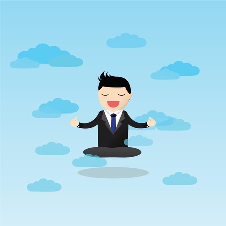 Businessman meditating in the sky. Meditative businessman is looking for the perfect business solution.
