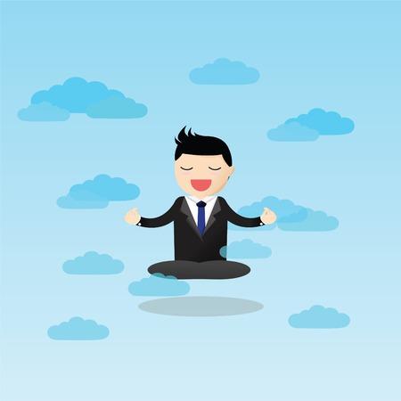 Businessman meditating in the sky. Meditative businessman is looking for the perfect business solution.