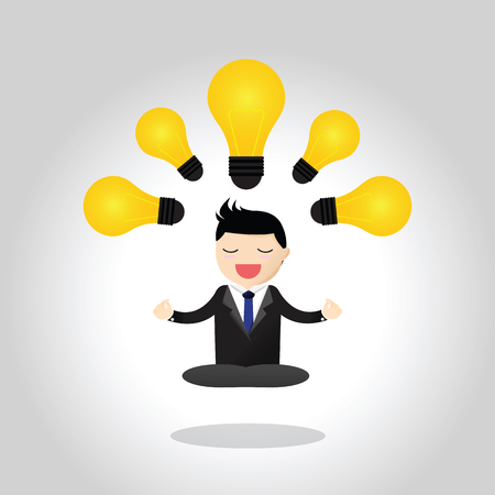 Businessman meditation - get idea. Meditative businessman is looking for the perfect business solution.