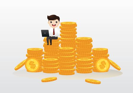Businessman with a laptop sitting on gold coins.  Vector, illustration. Çizim