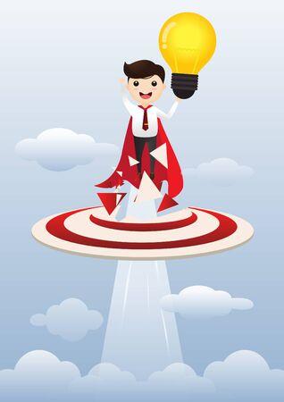 Businessman superhero holding creative lightbulb. Business idea concept. vector, illustration.
