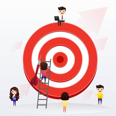 Businessman directs the arrow to the target. Aim in business concept. Businessmen working and woman at big target with arrow. Goals and objectives, business grow and plan. vector, illustration. Illustration