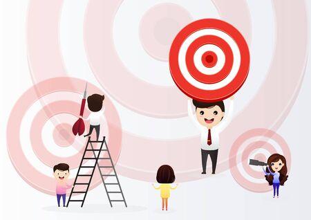 El hombre de negocios dirige la flecha hacia el objetivo. Apunte en concepto de negocio. Hombres de negocios trabajando y mujer en gran objetivo con flecha. Metas y objetivos, crecimiento empresarial y planificación. vector, ilustración. Ilustración de vector