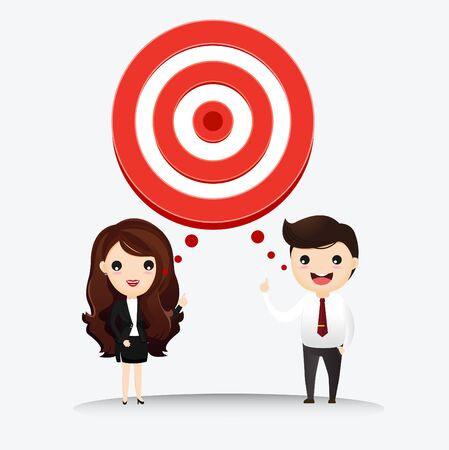 Business man and business woman talk with target to success. Business man and businesswoman with target in his think bubble. vector, illustrationn Ilustrace