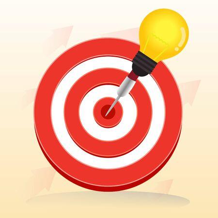 Vector red bullseye target and  light bulb dart is in the center. Vector, illustration. Ilustração