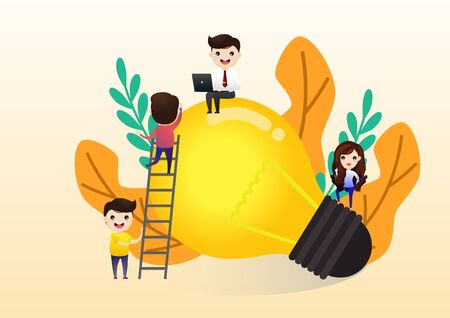 Teamwork on finding new ideas, little people launch a mechanism, search for new solutions, creative work,  concept of creative thinking, vector, illustration.