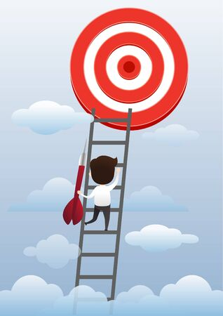 Businessman superhero flying and breaking target archery to Successful vector. Business superhero rushing on the arrow to the target, business concept goal and success. vector, illustration.