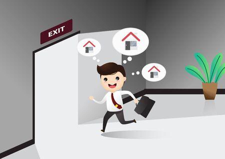 Homme d'affaires exécutant un panneau de porte de sortie, il quitte le travail. Homme d'affaires courant pour ouvrir la porte. Notion de sortie. Rentrer chez soi. illustration, vecteur.