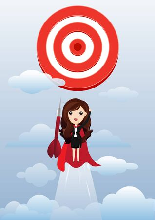 Business woman superhero flying and breaking target archery to Successful vector. Business superhero rushing on the arrow to the target, business concept goal and success. vector, illustration.