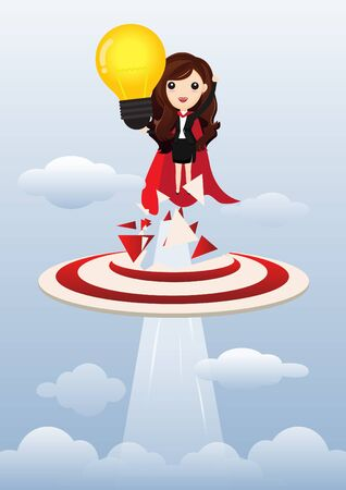 Business woman superhero holding creative lightbulb. Business idea concept. vector, illustration. Standard-Bild - 124977147