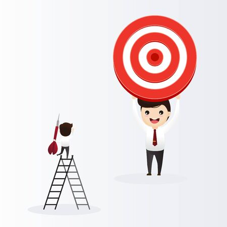 Businessman directs the arrow to the target. Aim in business concept. Businessmen working and woman at big target with arrow. Goals and objectives, business grow and plan. vector, illustration. Ilustração