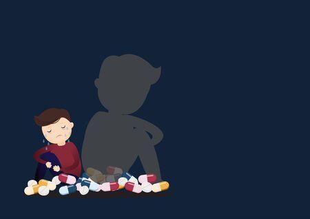 Jeune homme déprimé assis sur la cheminée avec des médicaments. Harcèlement sur internet. Illustration vectorielle. Vecteurs