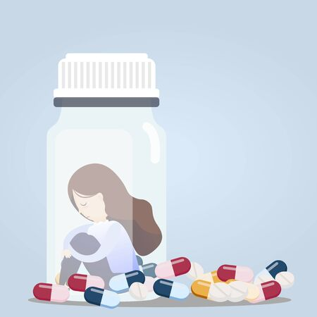 Young woman sitting in pill bottles with a lot of pill his depressed from taking medicine. vector, illustration Vectores