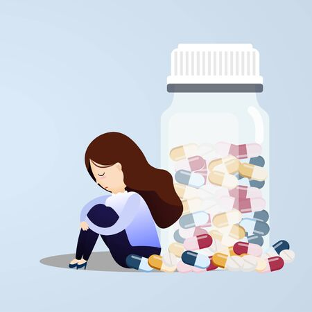 Young woman sitting near pill bottles with a lot of pill his depressed from taking medicine. vector, illustration