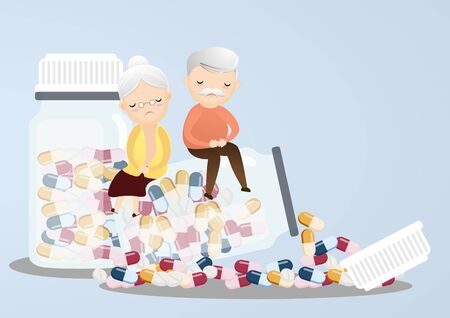 Senior sitting on pill bottles with a lot of pill his depressed from taking medicine. vector, illustration