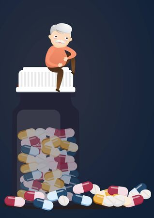 Senior sitting in pill bottles with a lot of pill his depressed from taking medicine. vector, illustration