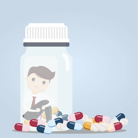 Businessman sitting in pill bottles with a lot of pill his depressed from taking medicine. vector, illustration