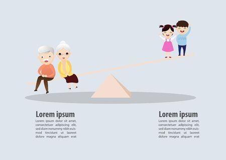 Weight scale between senior and children. Ageing social metaphor concept. Vector, illustration